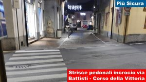 Strisce pedonali incrocio via C. Battisti-Corso della Vittoria