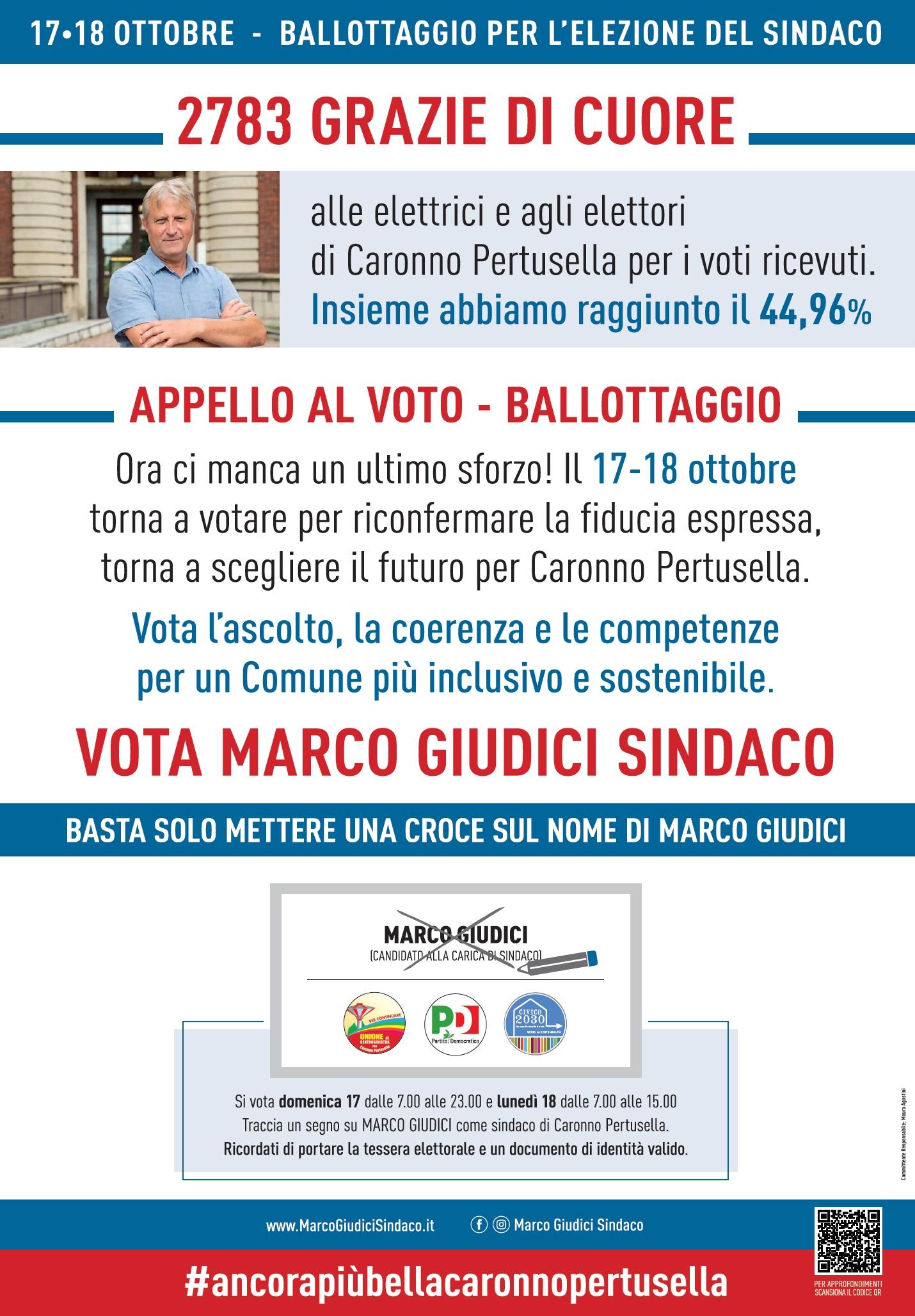 Ringraziamento agli elettori ed Appello per il ballottaggio